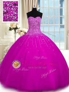 Affordable Fuchsia Sweetheart Lace Up Beading Quince Ball Gowns Sleeveless