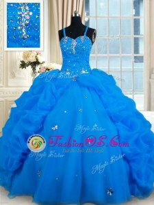 Super Beading and Pick Ups Quinceanera Dress Lace Up Sleeveless Floor Length