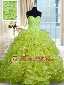 Olive Green Sleeveless With Train Beading and Pick Ups Lace Up Ball Gown Prom Dress