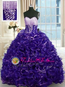 Elegant Lilac Ball Gowns Straps Sleeveless Organza Floor Length Lace Up Beading and Ruffles Quinceanera Dresses