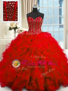 Sequins Red Sleeveless Organza Lace Up Quinceanera Dresses for Military Ball and Sweet 16 and Quinceanera