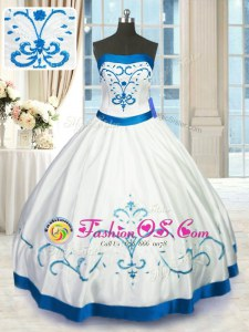 Beautiful White Sleeveless Satin Lace Up Quinceanera Dress for Military Ball and Sweet 16 and Quinceanera