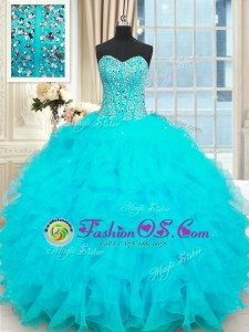Superior Baby Blue Sleeveless Organza Lace Up Quinceanera Dresses for Military Ball and Sweet 16 and Quinceanera