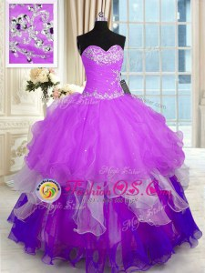 Top Selling Multi-color Ball Gowns Organza Sweetheart Sleeveless Beading and Ruffles Floor Length Lace Up Sweet 16 Dress