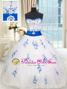 Decent White Lace Up Sweet 16 Dresses Appliques and Belt Sleeveless Floor Length