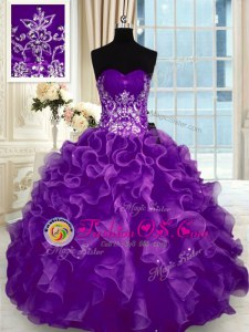 Dynamic Sweetheart Sleeveless Organza Quinceanera Dress Beading and Appliques and Ruffles Lace Up