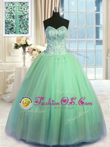 Glamorous Turquoise Lace Up 15 Quinceanera Dress Beading and Ruching Sleeveless Floor Length