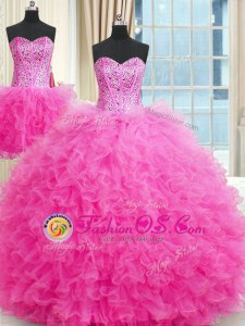 Three Piece Ball Gowns Quinceanera Dresses Lavender Strapless Tulle Sleeveless Floor Length Lace Up