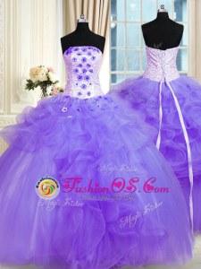Customized Pick Ups Ball Gowns Sweet 16 Dress Lavender Strapless Tulle Sleeveless Floor Length Lace Up