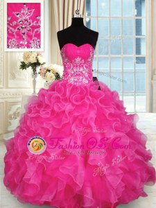 Beauteous Hot Pink Sweetheart Neckline Beading and Appliques and Ruffles Ball Gown Prom Dress Sleeveless Lace Up