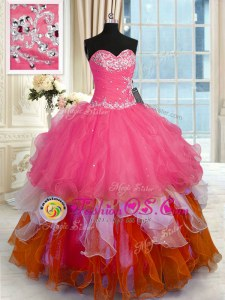 Floor Length Apple Green Vestidos de Quinceanera Organza and Taffeta Sleeveless Beading and Embroidery and Ruffled Layers