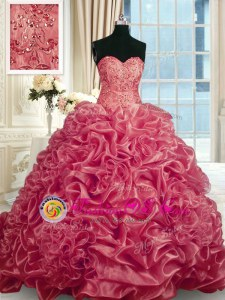 Fantastic Baby Pink Sweetheart Lace Up Beading and Ruffles Quinceanera Gowns Sleeveless