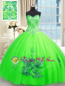 Inexpensive Ball Gowns 15th Birthday Dress Sweetheart Tulle Sleeveless Floor Length Lace Up