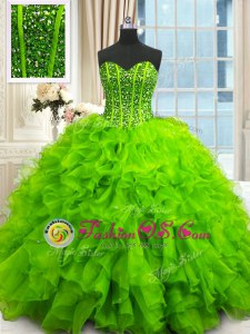 Attractive Beading and Ruffles and Sequins Quinceanera Gowns Lace Up Sleeveless Floor Length