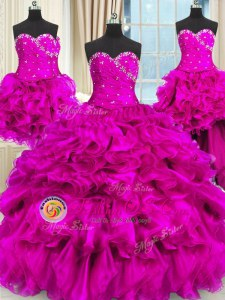 Dynamic Four Piece Fuchsia Three Pieces Beading and Ruffles and Ruching Quinceanera Dress Lace Up Organza Sleeveless Floor Length
