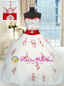 Beautiful Floor Length White Sweet 16 Dress Tulle Sleeveless Appliques and Belt