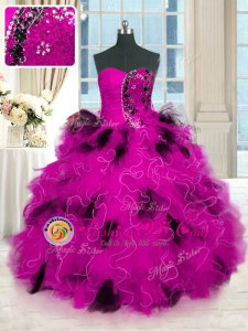 Multi-color Lace Up Vestidos de Quinceanera Beading and Ruffles Sleeveless Floor Length