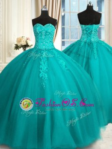 Teal Sleeveless Tulle Lace Up Quinceanera Gowns for Military Ball and Sweet 16 and Quinceanera