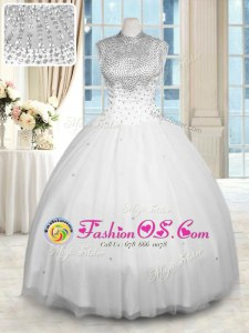 White Sleeveless Tulle Zipper Quinceanera Dresses for Military Ball and Sweet 16 and Quinceanera