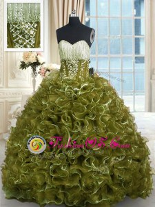 Trendy Olive Green Organza Lace Up Sweet 16 Dress Sleeveless With Brush Train Beading and Ruffles