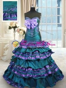 Captivating Ruffled Layers Sweep Train A-line 15th Birthday Dress Peacock Green Sweetheart Taffeta Sleeveless Lace Up