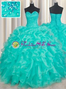 Shining Turquoise Organza Lace Up Quinceanera Gowns Sleeveless Floor Length Beading and Ruffles