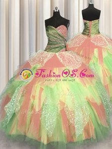 Royal Blue Ball Gowns Organza Sweetheart Sleeveless Beading and Ruffles Floor Length Lace Up Quinceanera Dresses