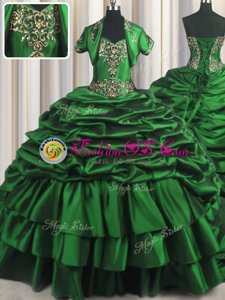 Gorgeous Dark Green Sleeveless With Train Beading and Appliques and Pick Ups Lace Up Vestidos de Quinceanera