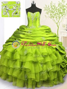 Pick Ups Ruffled With Train Olive Green Sweet 16 Dresses Strapless Sleeveless Brush Train Lace Up