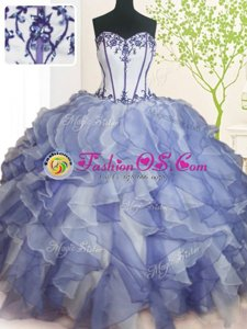 High Quality Sweetheart Sleeveless Lace Up Vestidos de Quinceanera Blue And White Organza