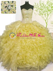 Sweet Sweetheart Sleeveless Quinceanera Dress Floor Length Beading and Ruffles Blue Organza
