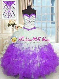 Halter Top Hot Pink Sleeveless Beading and Ruffles Floor Length Sweet 16 Quinceanera Dress