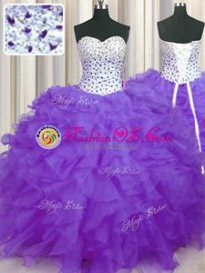 Lavender Sleeveless Floor Length Beading and Ruffles Lace Up Sweet 16 Dress
