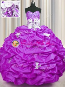Customized Appliques and Sequins and Pick Ups Quinceanera Dress Lilac Lace Up Sleeveless With Brush Train