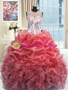 Watermelon Red Scoop Zipper Beading and Ruffles Sweet 16 Dresses Sleeveless