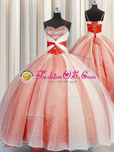 Elegant Orange Red Organza Lace Up Sweet 16 Dress Sleeveless Floor Length Beading and Sequins and Ruching