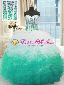 Turquoise Ball Gowns Beading and Ruffles and Pick Ups Quinceanera Dresses Lace Up Organza Sleeveless Floor Length