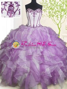 High End Fuchsia Sweetheart Neckline Beading and Ruffles 15 Quinceanera Dress Sleeveless Lace Up