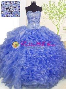 Fabulous Sweetheart Sleeveless Sweet 16 Dress Floor Length Beading and Ruffles and Pick Ups Blue Organza