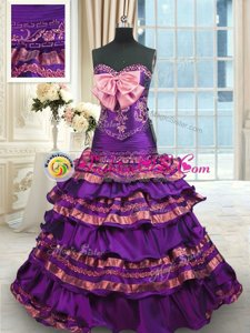 Purple Sleeveless Brush Train Appliques and Ruffled Layers and Bowknot Quinceanera Dresses