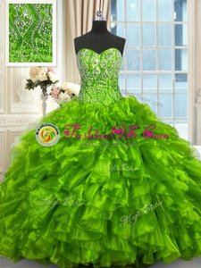 Enchanting Sweetheart Sleeveless Organza Ball Gown Prom Dress Beading and Ruffles Brush Train Lace Up