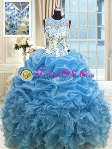 Scoop Floor Length Baby Blue Quinceanera Gown Organza Sleeveless Beading and Ruffles
