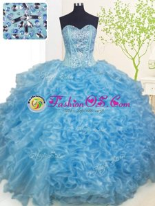 Free and Easy Floor Length Turquoise Quince Ball Gowns Sweetheart Sleeveless Lace Up