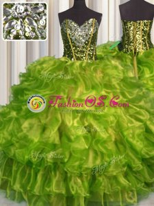 Fashionable Olive Green Quinceanera Gowns Military Ball and Sweet 16 and Quinceanera and For with Beading and Ruffles Sweetheart Sleeveless Lace Up