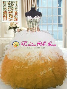Sumptuous Multi-color Sleeveless Floor Length Beading and Ruffles Lace Up 15 Quinceanera Dress