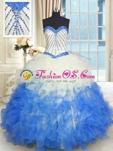 Glamorous Royal Blue Quinceanera Gowns Military Ball and Sweet 16 and Quinceanera and For with Appliques and Sequins and Pick Ups Sweetheart Sleeveless Brush Train Lace Up