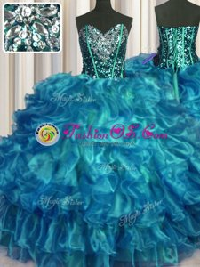 Sweetheart Sleeveless Lace Up Sweet 16 Dresses Teal Organza