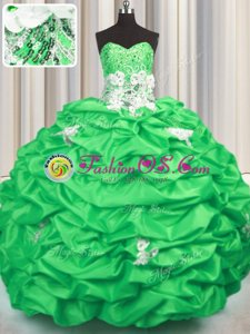 Sweet With Train Ball Gown Prom Dress Taffeta Brush Train Sleeveless Appliques and Sequins and Pick Ups