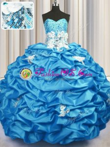 Trendy Aqua Blue Sleeveless With Train Appliques and Sequins and Pick Ups Lace Up Quinceanera Gown
