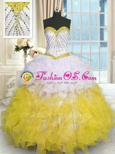 Yellow And White Lace Up Sweetheart Beading and Ruffles Sweet 16 Dresses Organza Sleeveless